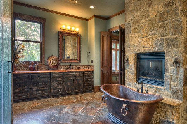 houston office chairs silver metal dining indian lakes, mountain lodge style - rustic bathroom by ellis custom homes llc