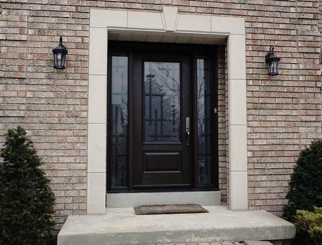 Transitional style entry doors