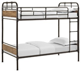 Twin over Twin Metal Wood Bunk Bed, Black