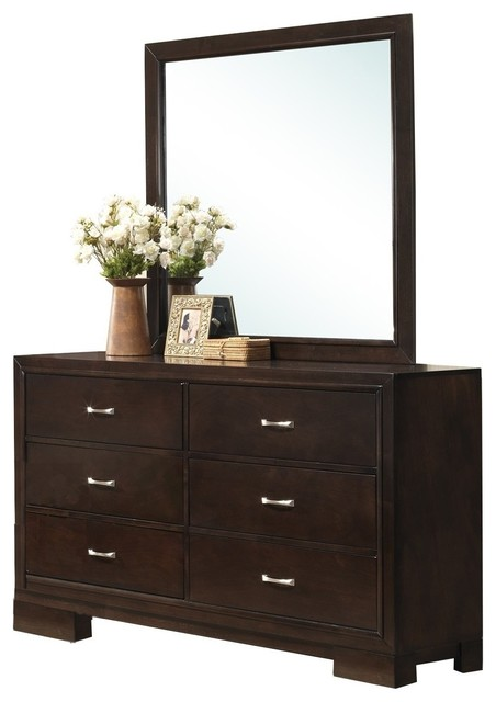 Furnituremaxx Montana Modern Wood Dresser and Mirror Walnut Finish  Dressers  Houzz