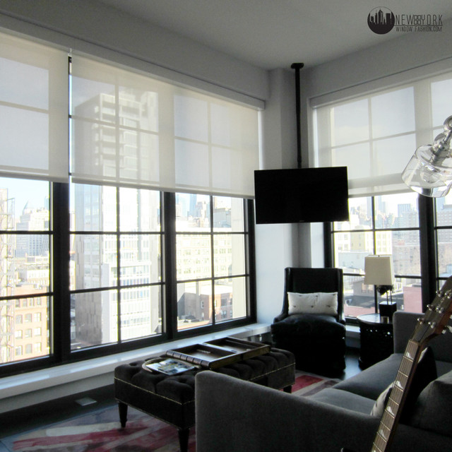 Bedroom Automated Shades Modern Home Theater New