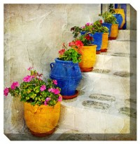 Bright Pots Outdoor Canvas Art - Traditional - Outdoor ...