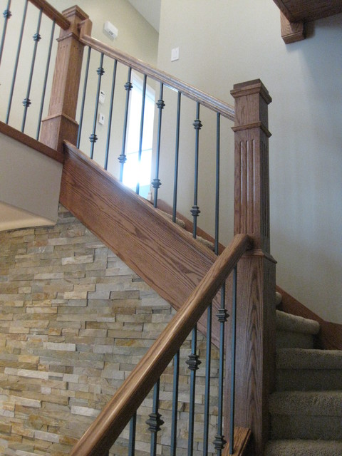 New Construction  Oak Craftsman Stair & Railing Project
