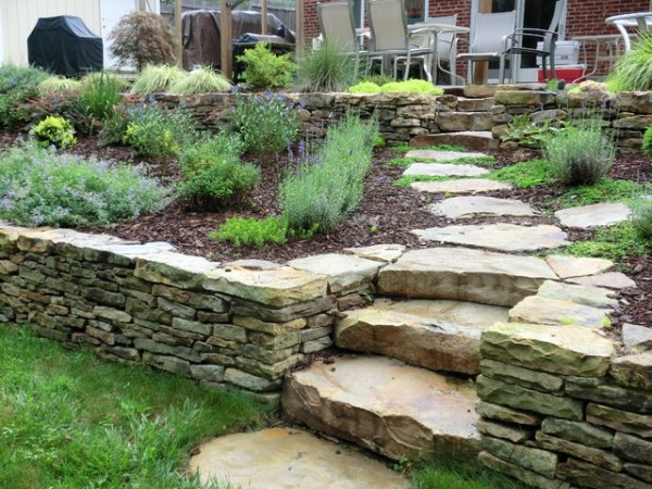 boulder steps and stone wall