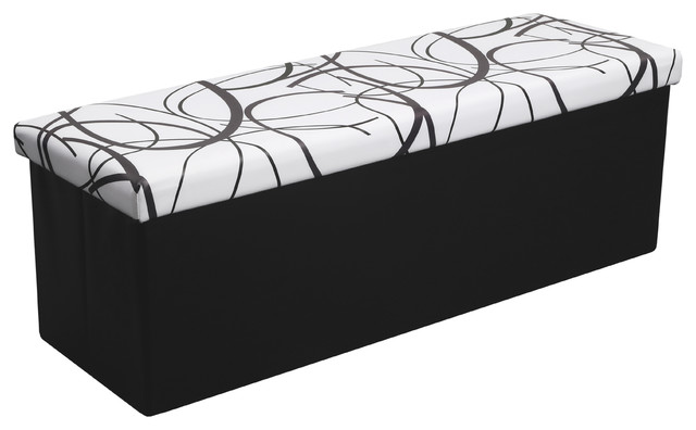 45 faux leather storage ottoman bench white swirl