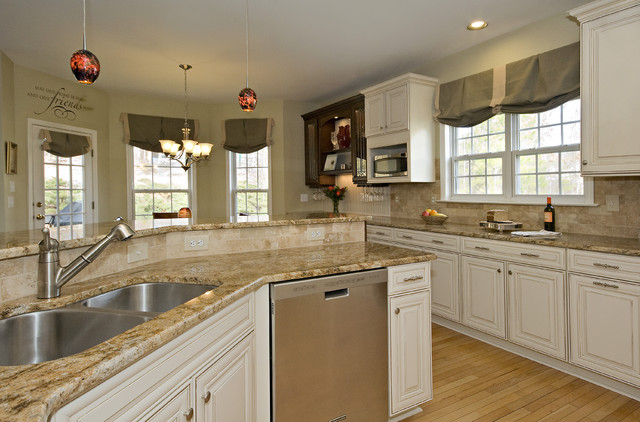 natural cherry kitchen cabinets warehouse durham chocolate and cream - traditional ...