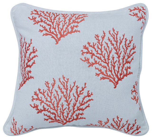 Salmon Colored Embroidered Coral Pillow  Decorative