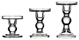3-Piece Set of Bubble Glass Pillar Candle Holders