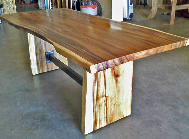 Natural Edge Dining Table With Steel Trestle, Custom