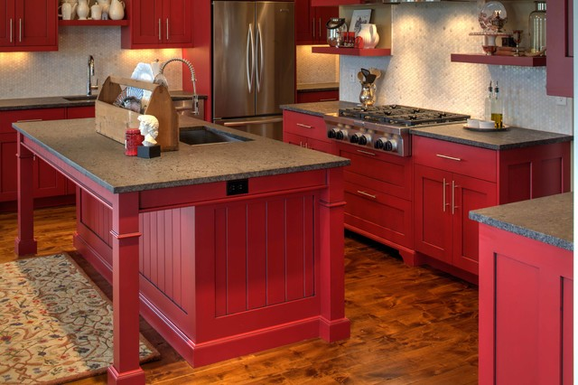 Modern shaker cabinetry with red paint and glaze finish