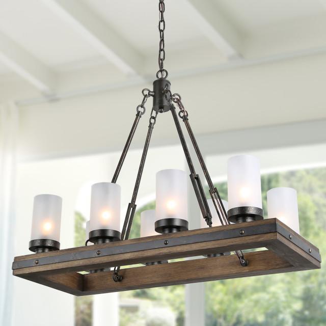 8 lights rustic chandeliers use wood and metal island pendant lights
