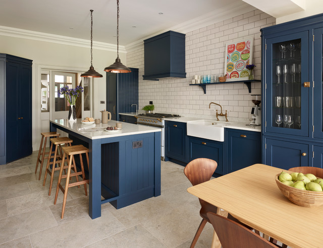 Which Flooring Looks Best With A Dark Blue Kitchen Houzz Uk