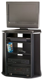 Tall Corner TV Stand Black Finish Entertainment Centers