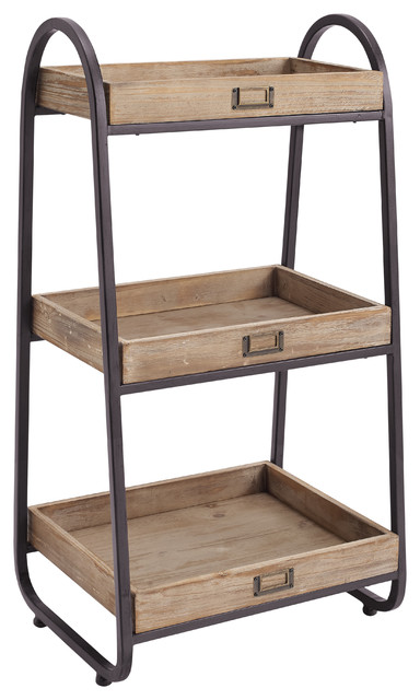 3-tiered iron and wood bath stand, rustic brown - industrial