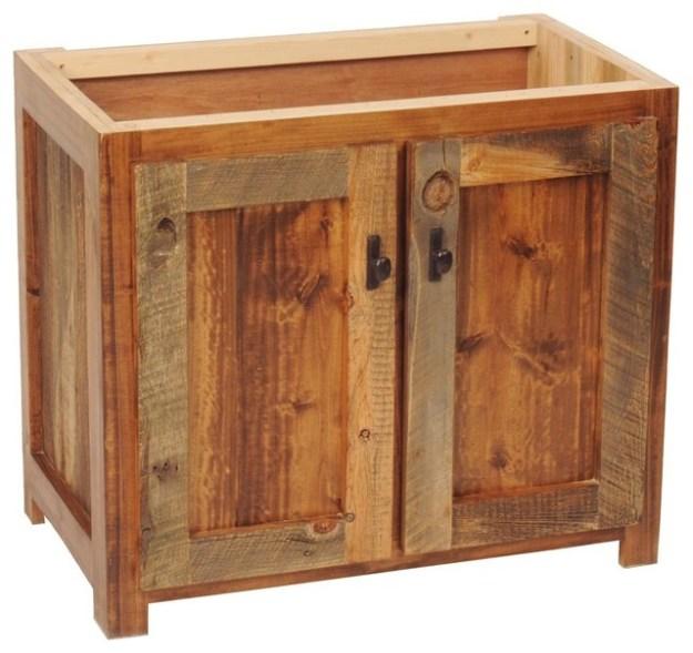 """rustic wood bathroom vanity base, 30""""w - rustic - bathroom vanities"""