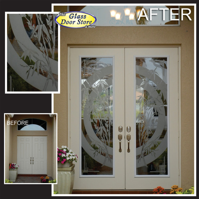 Etched or Sandblasted Glass Doors  Tropical  Entry