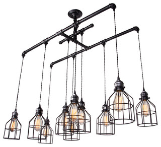 Brushed Iron 1 Tier Linear Chandelier With Wire Guard