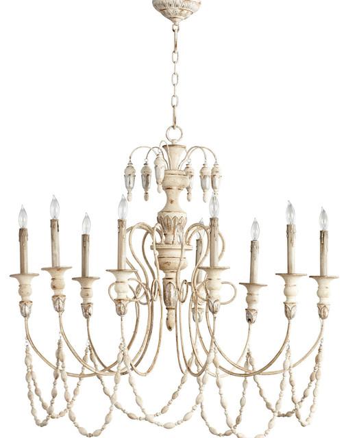 Cyan Design Florine 9 Light Chandelier In Persian White Silver Chandeliers