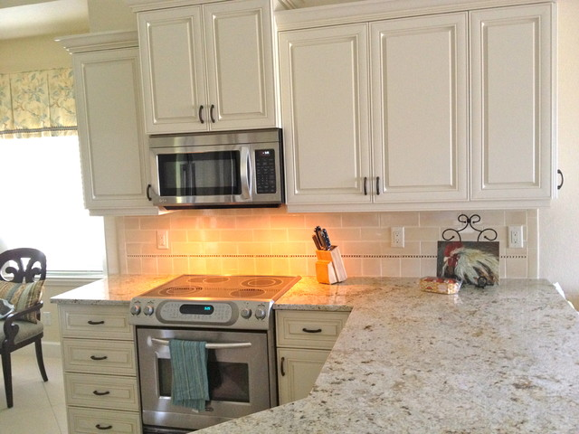 small lamps for kitchen counters home depot kohler faucet naples florida condo - traditional ...
