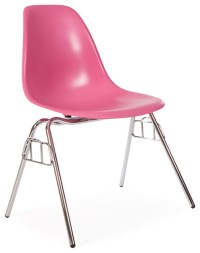 Molded Shell Stacking Dining Side Chair, Pink - Midcentury ...