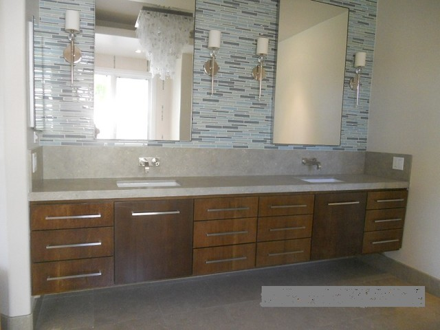 Extra Long White Oak Floating Double Sink Vanity
