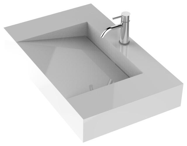 badeloft stone resin wall mounted sink matte