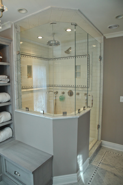 Custom vanity and shower area with unique tile pattern layour  Traditional  Bathroom  newark
