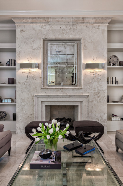 Elegant Living Room w Limestone Fireplace  Transitional