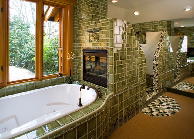 Tile tub with Fireplace  Eclectic  Bathroom  Portland