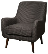 Zoe Houndstooth Fabric Armchair, Black and Gray ...
