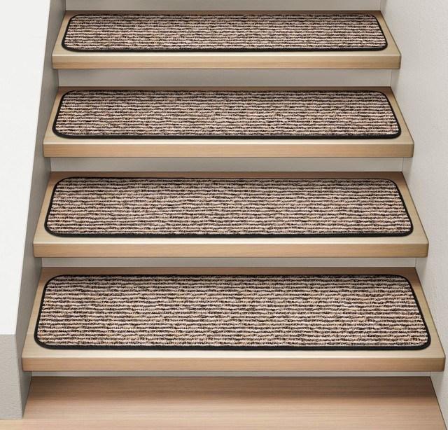 Set Of 12 Attachable Carpet Stair Treads Black Ripple | Black Carpet Stair Treads | Bullnose | Slip Resistant | Interior | Gray | Indoor