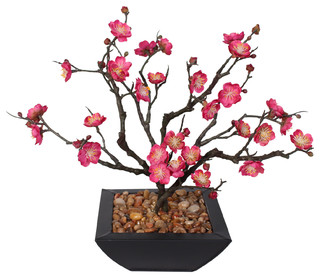living room arrangements with sectionals modern chandeliers plum blossom bonsai rocks in metal pot - asian ...