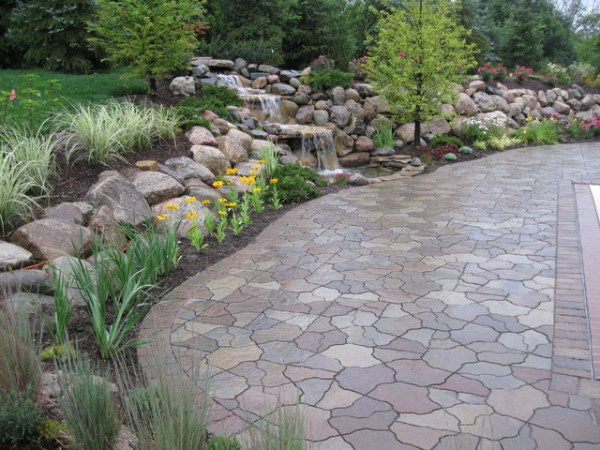 water fall and pond flagstone
