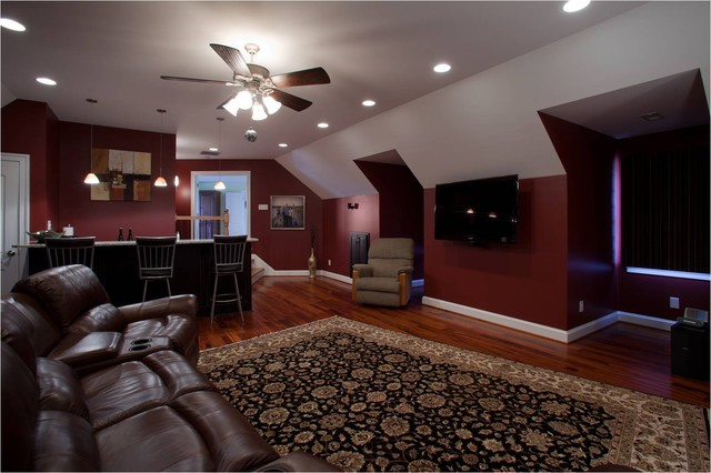 Media Room With Wet Bar Transitional Home Theater Other By