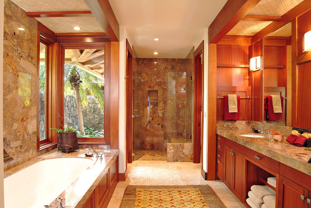 mahogany side tables living room affordable sets master bath - tropical bathroom hawaii by saint ...