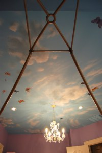 Sky Ceiling Mural with Butterflies, hand-painted in a ...