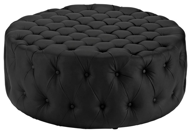 modern contemporary urban design living lounge room ottoman black fabric