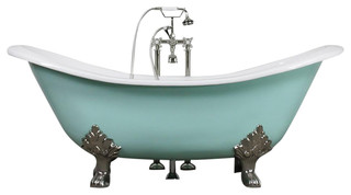 "The Dunstable 73"" Long Double Slipper Cast Iron Tub With Drain"