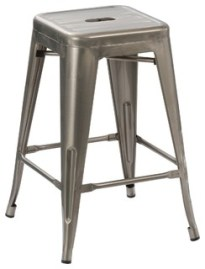"""24"""" Vintage-Style Antique-Style Distressed Metal Brush Bar Stools, Set of 4"""
