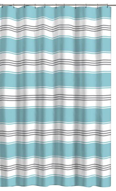 alternating stripe shower curtain aqua blue gray white
