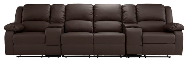 theater chairs with cup holders circle chair name classic 4 seater recliner sofa seating dark brown