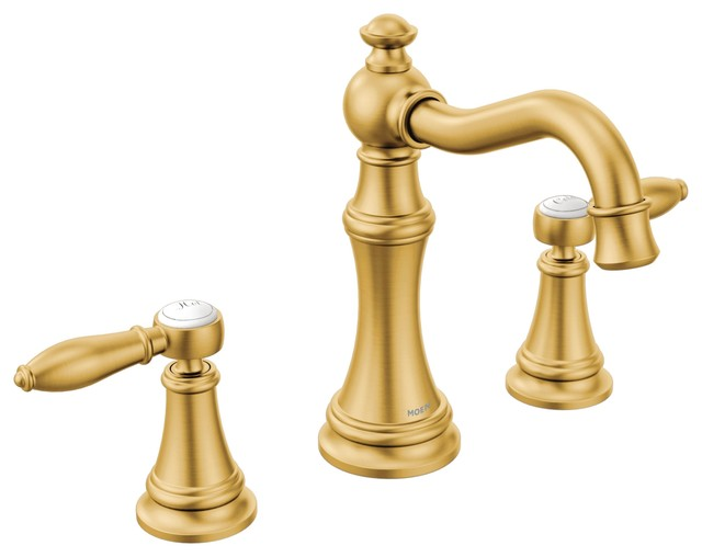 moen weymouth brushed gold two handle bathroom faucet