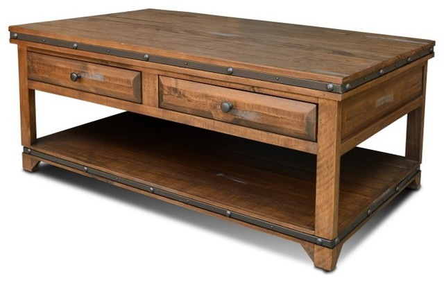 rustic distressed wood coffee table with 2 drawers