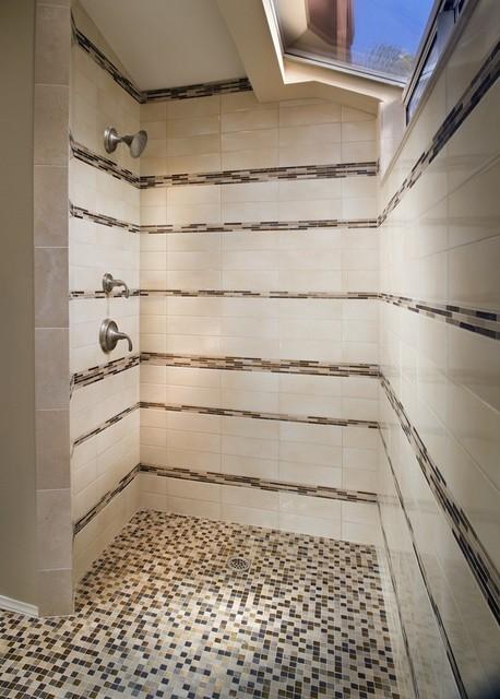 Mosaic Striped Shower  Contemporary  Bathroom  New York