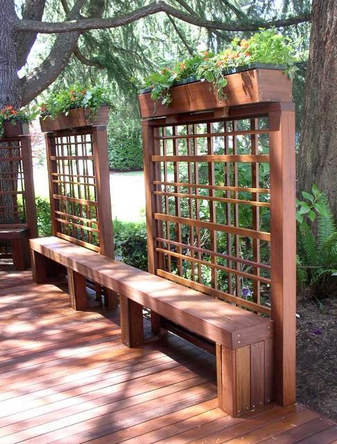 ipe deck trellis with planter
