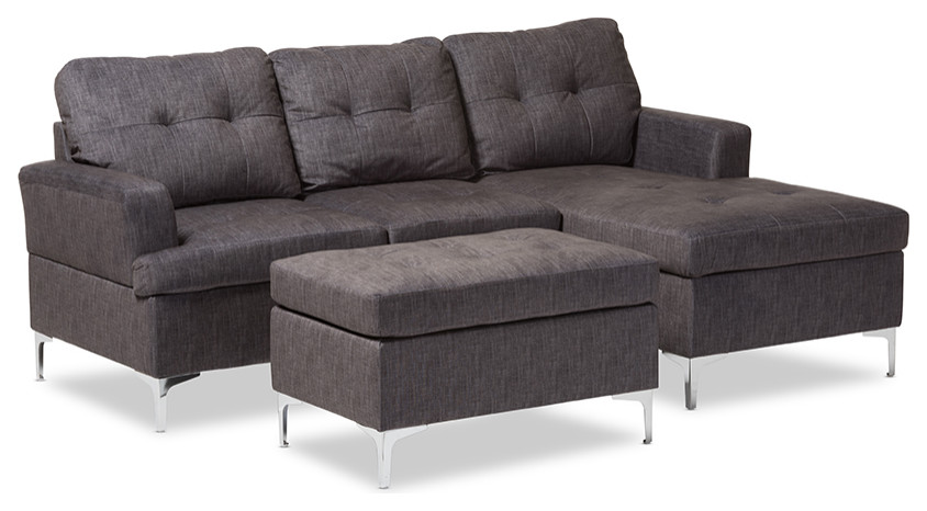 baxton studio riley grey fabric 3 pcs sectional sofa with ottoman set