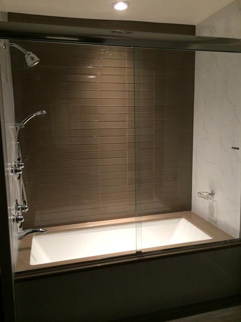 kitchen sinks houzz tile floors soaker tub with custom frameless glass sliding doors ...