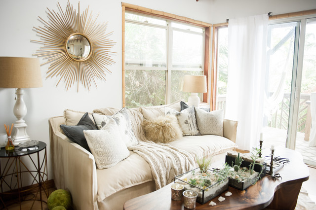 My Houzz: Chic Boho Style for a Hawaii Apartment beach-style-living-room