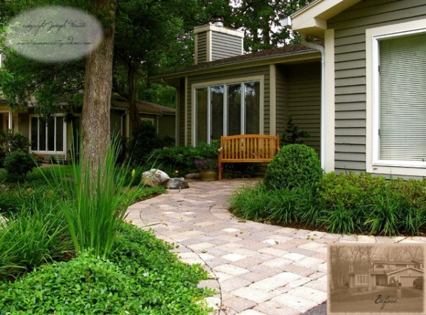 front yard walkway & landscaping