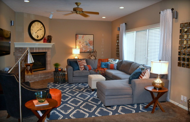 pictures of living rooms with grey sectionals room floor lamps cheap casual orange, blue and gray family - traditional ...